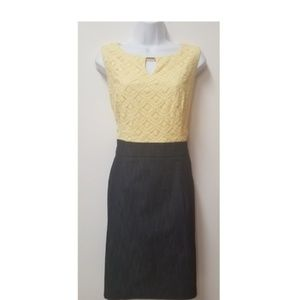 Alyx Yellow and Charcoal Sleeveless Lace Dress